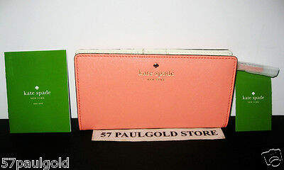 Nwt Kate Spade Mikas Pond Stacy Leather Clutch Wallet In Guava Wlru1691 $128 New