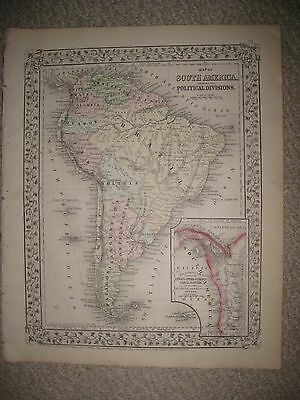 Antique 1871 South America Mitchell Hdclr Map Vine Grape Border Argentina Brazil