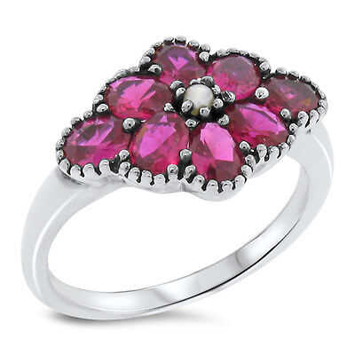 Lab Ruby Pearl Antique Victorian Style .925 Sterling Silver Ring Size 10,   #446