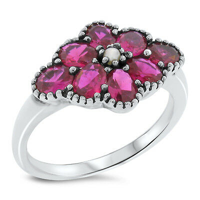 Lab Ruby Pearl Antique Victorian Style 925 Sterling Silver Ring Size 5,    #446