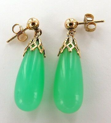 ' 14Ct Yellow Gold & Jade Drop Earring Set