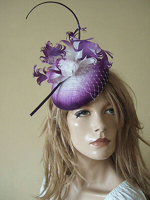 Purple White Ombre Curled Goose Nagoire Feather Button Hat Fascinator MN165
