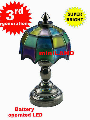 Colored tiffany table LED LAMP Dollhouse miniature light battery on/off 1:12 BK