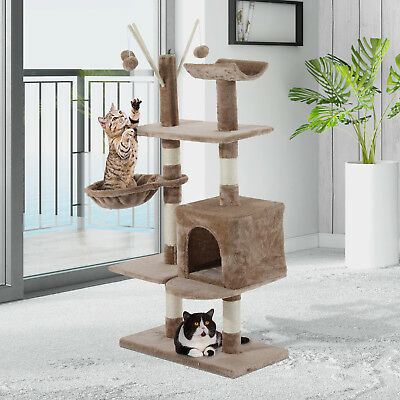 Cat Tree Scratching 135cm Scratcher Activity Playing Center Climb Post Bed Sisal