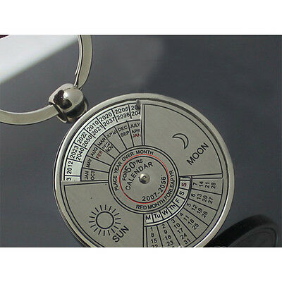 1 Pc Simple Alloy Round Calendar Pendant Key Chain Key Ring Accessories Gift