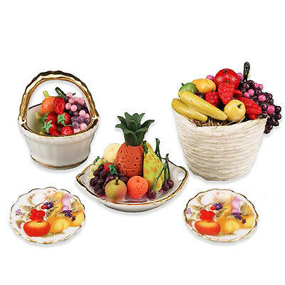 Reutter Porzellan Fruit Maniac/Deluxe Fresh Fruit Basket Set Dollhouse 1:12