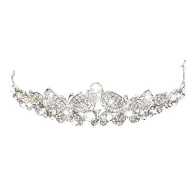 Wedding Tiaras and Crowns Veil Headband Rhinestone Butterfly Pageant Tiara