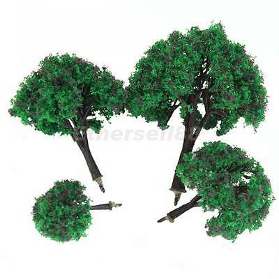 4pcs Model Tree w/ Brown Flower for Train Scenery Wargame Layout 1.6-4 Inch