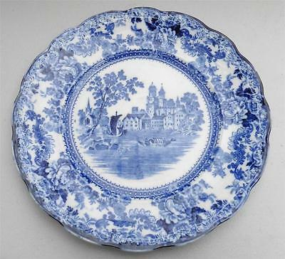Antique Colonial Pottery Stoke England Winkle Co TOGO FLOW BLUE Plate 1890-1925