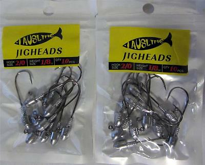 20X Size 2/0  1/8 OZ  Jig Heads  High Chemically Sharpened Hooks Fishing Tackle