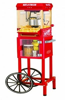 Vintage Popcorn Cart Kettle Movie Popper 10 Cups Countertop Storage Stainless