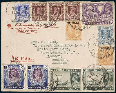 BURMA Air Mail Cover Rangoon to London  November 1941 George V & VI Stamps RARE