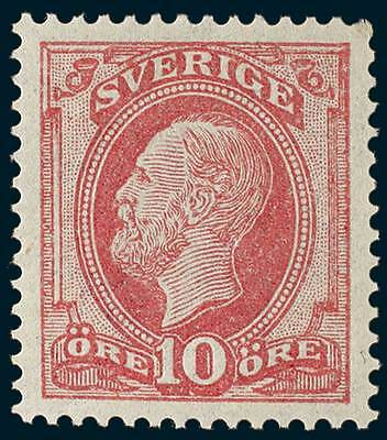 SWEDEN 1885 10 Ore Rose-Lake With Blue Posthorn on Back SG 28b MUH