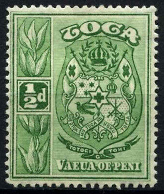 Tonga 1920 SG#55, 1/2d Yellow-Green Wmk Sideways MH #D25533