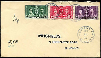 Newfoundland 1937 Coronation KGVI Registered Cover #C35262