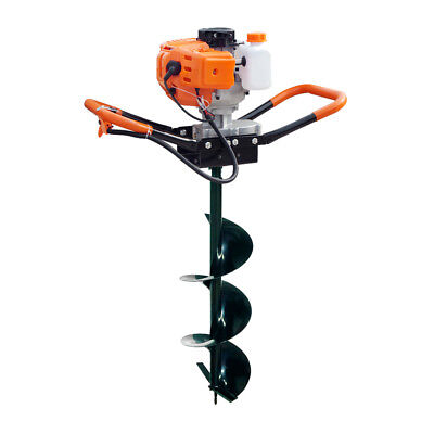 52CC 1.8KW Petrol Earth Auger Post Hole Digger Kit with 10inch Auger Attachments