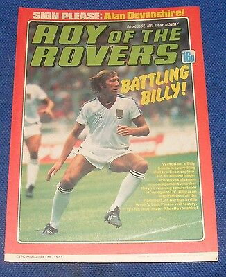 Roy Of The Rovers Comic 8Th August 1981 Sign Please - Alan Devonshire