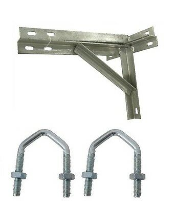 "T&K.  Aerial Mast Wall Mounting 18"" T&K Brackets Galvanised & 2 X V Bolts"