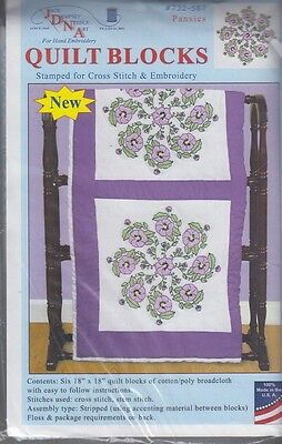 "1 Pk Jack Dempsey ""Pansies"" Stamped Xstitch/Embroidery Quilt Blocks"