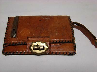 Vintage Antique Tooled Leather Bifold Wallet Bilfold
