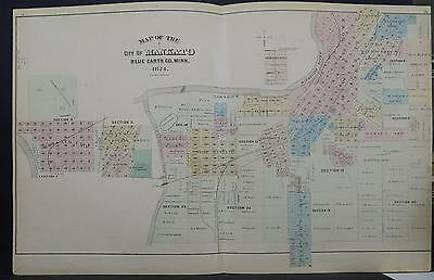 Minnesota, Antique County Map, 1874 City of Mankato, Double Page