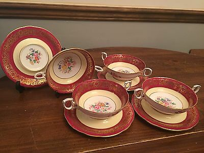 """""""KING"""" by Hammersley Pattern #4168 ~ Set of 4 ~ Cream Soup Bowls w/Saucers"""
