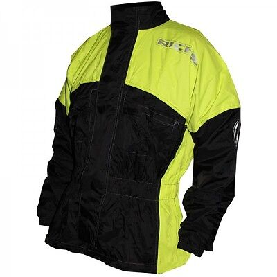 Richa Rain Warrior Waterproof Motorcycle Over Jacket Black Fluo Yellow