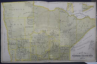 Minnesota, Antique County Map, 1874 Northern MN, Red Lake, Indian Reservation