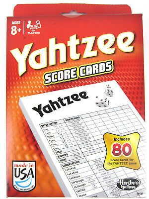 80 YAHTZEE SCORE CARDS Pad Sheets Replacement refill Dice Classic Game Yacht NEW