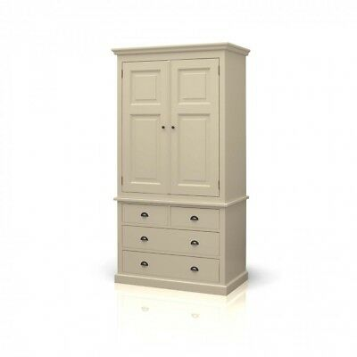 Devon Painted Pine Furniture Linen Press Gents Double Wardrobe