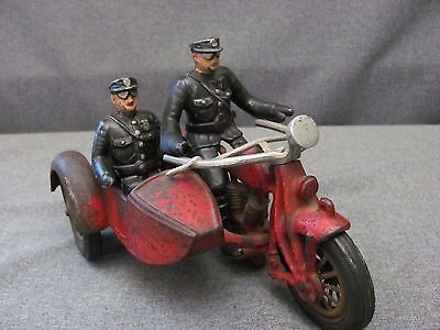 Hubley Cast Iron Motorcycle With Sidecar and Two Policemen