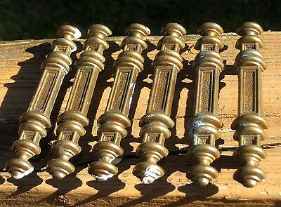 Lot of 6 Vintage Brass Tone Metal Ornate Dresser Desk Drawer Pulls / Handles
