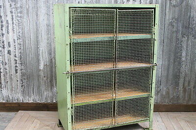 Vintage Cabinet Pastel Green Pantry Cupboard Wire Mesh Industrial Cupboard