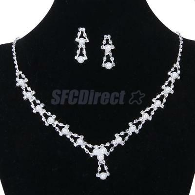 Bridal Wedding Crystal Rhinestone Pearls Triangle Necklace Earring Jewelry Set