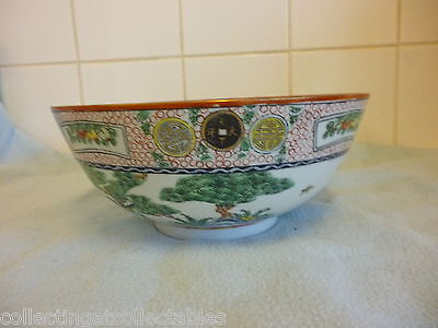 Large Vintage Hand Painted Famille Rose Chinese  Bowl