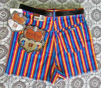 NOS Vtg 80s Rainbow Stripe HIGH WAIST Cut-Off Hippie Denim Jean Shorts Belt 12