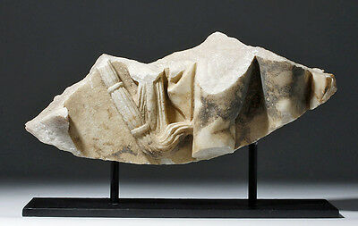 ARTEMIS GALLERY Roman Marble Sarcophagus Fragment - Leg & Torch • CAD $5,033.70
