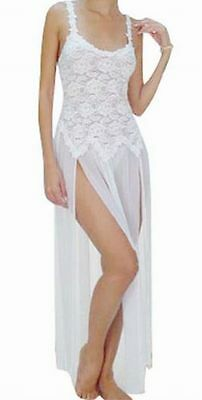 Sheer Fabric Gown with To-The-Waist Bodice and Matching Thong