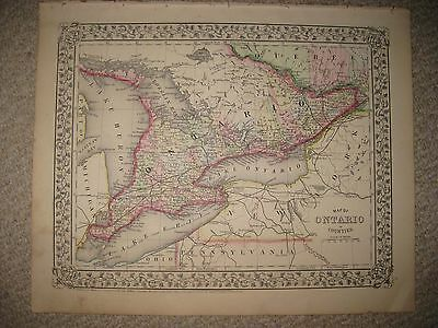 Antique 1871 Ontario Canada Mitchell County Handcolored Map Vine Grape Border Nr