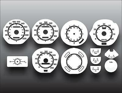 1971-1973 Ford Mustang METRIC KPH KMH Dash Instrument Cluster White Face Gauges