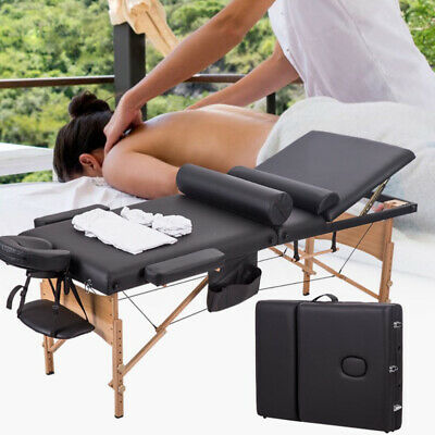 "84""L Portable 3 Fold Massage Table Facial Spa Bed W/2 Pillows+Sheet+Cradle Cover"