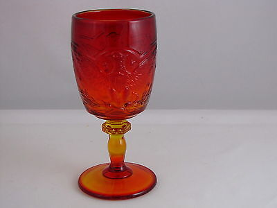 "L.E. Smith Glass Eagle Pattern Goblet in Flame or Amberina, #4552, 6 5/8"" tall"