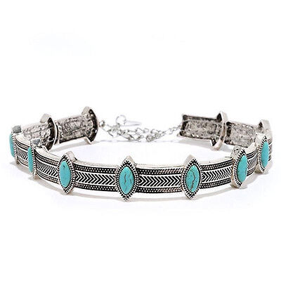 Vintage Women Bohe Ethnic Turquoise Bead Silver Collar Choker Statement Necklace