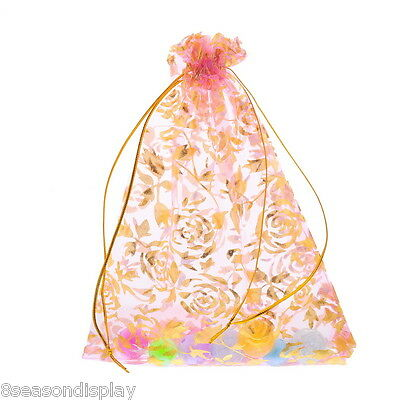 50PCs 15x20cm Flower Organza Wedding Gift Bags&Pouches