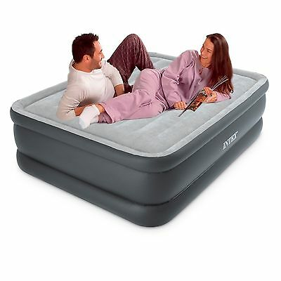 Intex Queen Raised Downy Air Bed Airbed Mattress + Built-in Electric Pump #66718