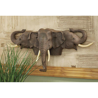 African Elephants Hand Painted Wall Sculpture Art Display Home Decor New