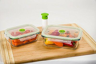 Lasting Freshness 5-pc Glass Vacuum Food Storage Containers, Rectangular (Small)