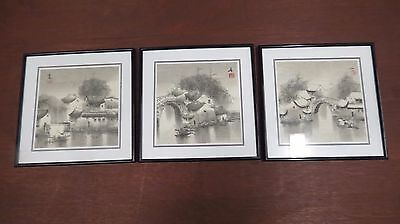 Vtg Japanese woodblock print village scenes set x 3