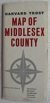 Harvard Trust (Bank) Map of Middlesex County (Arlington Ma. etc.) circa 60's/70s