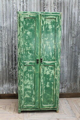 Large Green Cupboard Vintage Locker Aged Painted Wooden Storage Cabinet